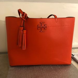 Red Tory Burch McGraw Tote Bag